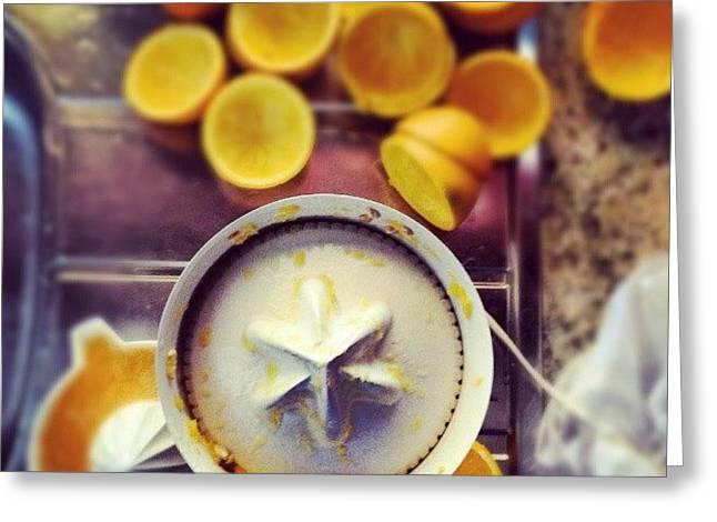 #orange #juice #goodmorning #morning Greeting Card