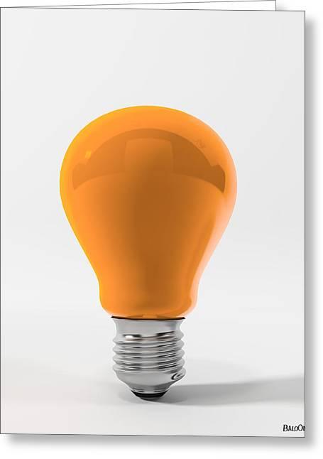Orange Ligth Bulb Greeting Card by BaloOm Studios
