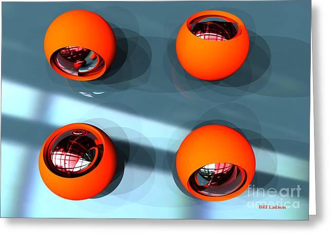 Orange Orbs Hdri Greeting Card