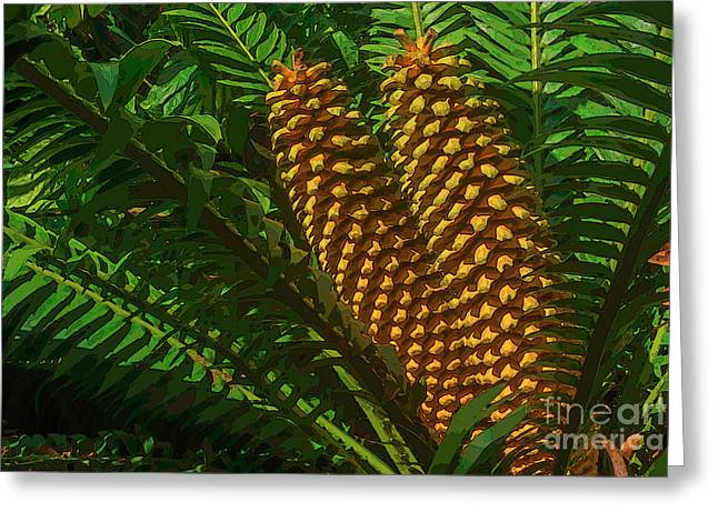 Orange Palm Hearts Greeting Card by Herb Paynter