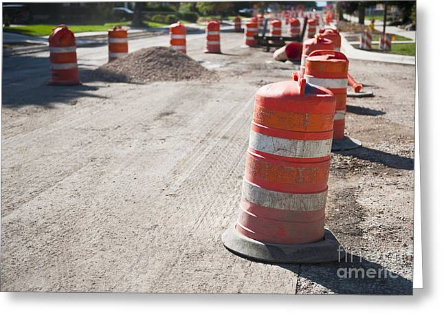 Orange Reflective Road Construction Barrels Greeting Card