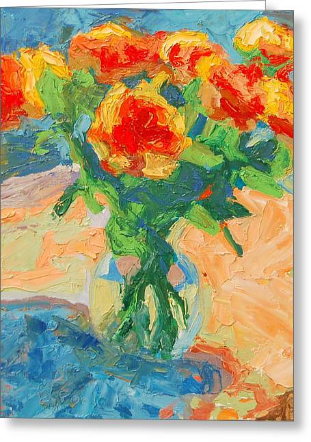 Orange Roses In A Glass Vase Greeting Card
