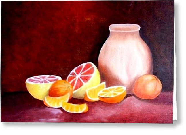 Orange Still Life Greeting Card by Carola Ann-Margret Forsberg