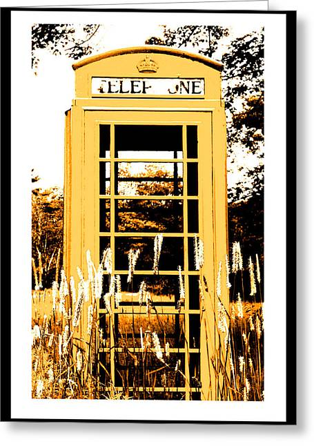 Orange Telephone Booth In The Field Greeting Card