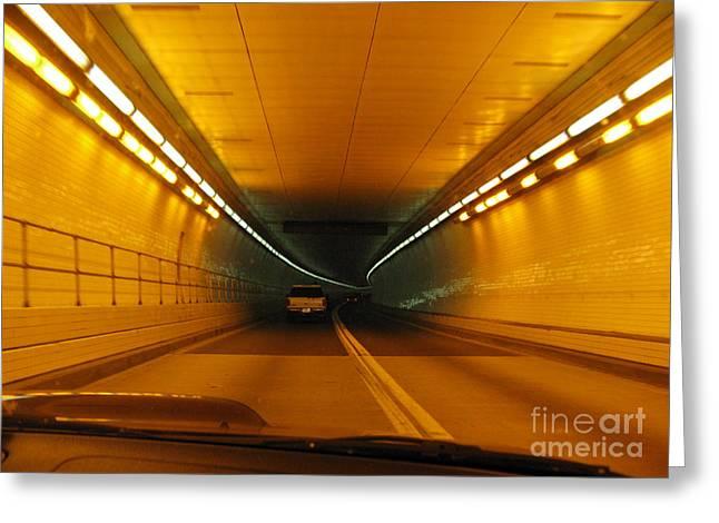 Orange Tunnel In Dc Greeting Card by Ausra Huntington nee Paulauskaite