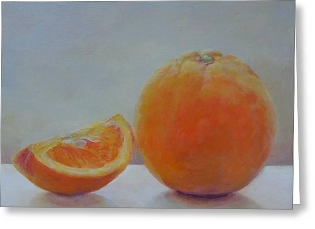 Orange Un Quart Greeting Card by Muriel Dolemieux