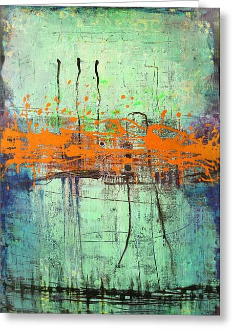 Greeting Card featuring the painting Orange Visitation by Lolita Bronzini