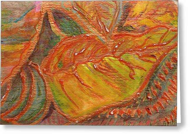 Orange You Glad I Painted Orange Leaf Greeting Card by Anne-Elizabeth Whiteway