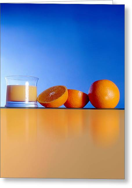 Oranges And Orange Juice Greeting Card by Victor Habbick Visions