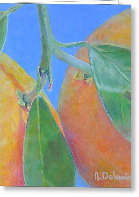 Oranges Ecartelees Greeting Card by Muriel Dolemieux