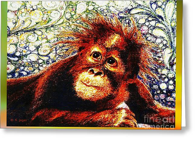 Greeting Card featuring the drawing Orangutan Baby by Hartmut Jager