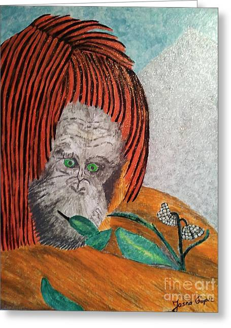 Greeting Card featuring the painting Orangutan by Jasna Gopic