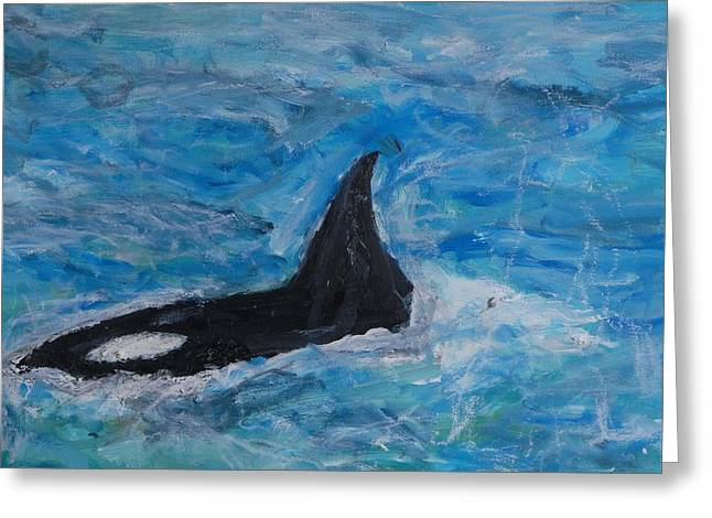 Orca Greeting Card by Iris Gill
