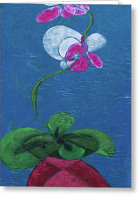 Orchid Inspired Floral On Blue 2 Greeting Card