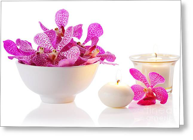 Orchid With Candle Greeting Card by Atiketta Sangasaeng