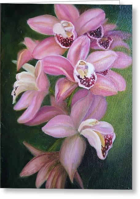 Orchids Greeting Card by Marlyn Boyd