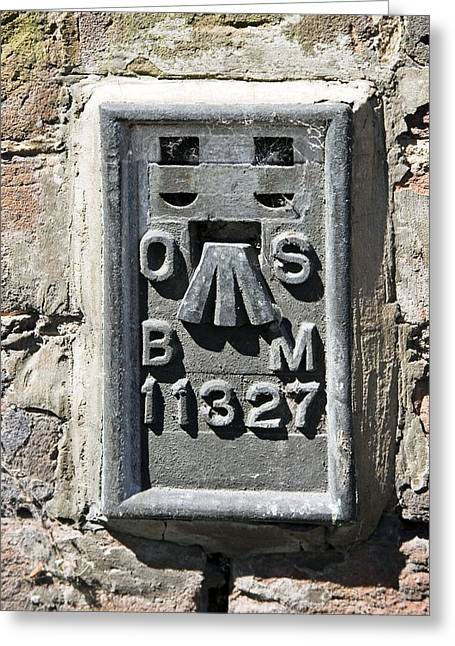 Ordnance Survey Benchmark, Uk Greeting Card by Sheila Terry