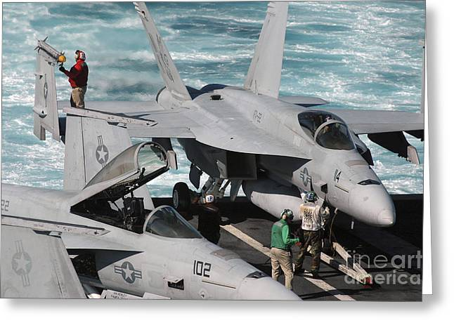 Ordnancemen Perform Checks On A Fa-18e Greeting Card by Stocktrek Images