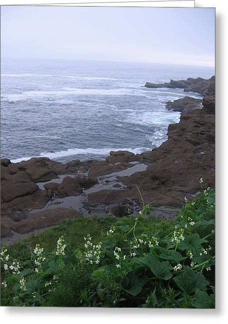 Greeting Card featuring the photograph Oregon Coast Near Depoe Bay by Karen Molenaar Terrell