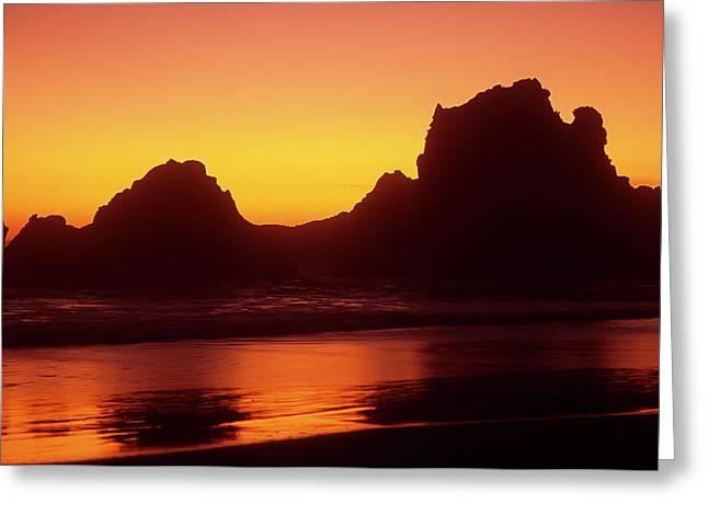 Oregon Coast Rocks Sunset Greeting Card