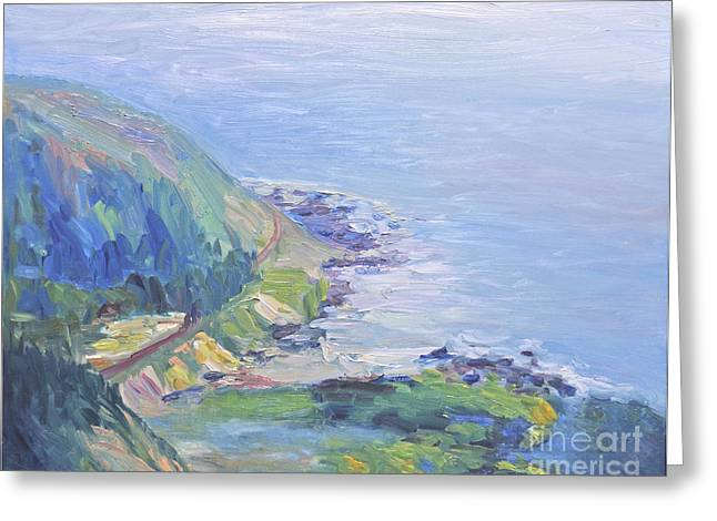 Greeting Card featuring the painting Oregon Coastline by Barbara Anna Knauf