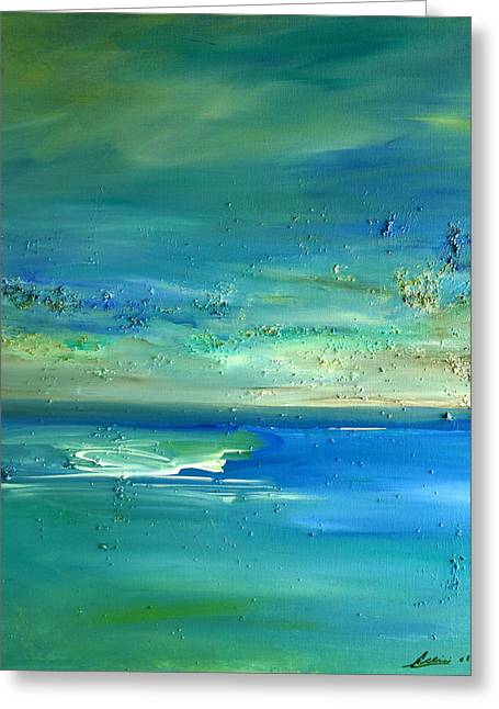 Greeting Card featuring the painting Organic Seascape by Dolores  Deal