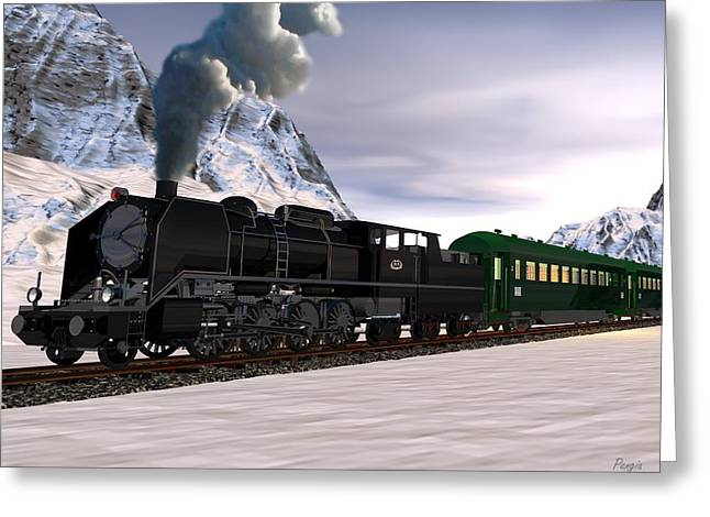 Greeting Card featuring the digital art Orient Express by John Pangia