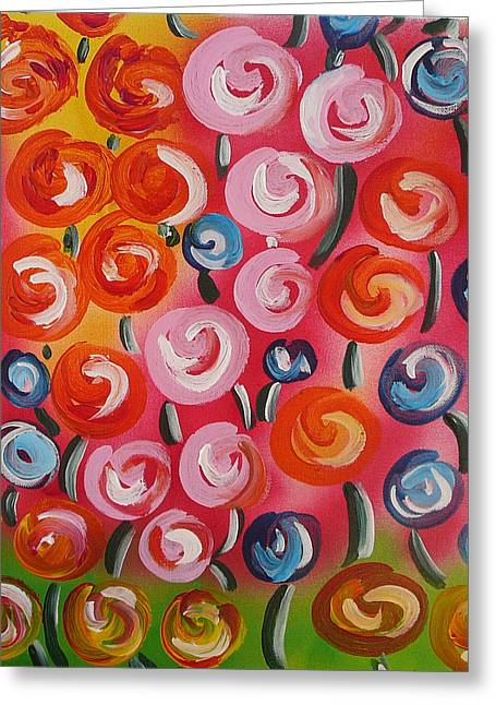 Greeting Card featuring the painting Original Modern Impasto Flowers Painting  by Gioia Albano