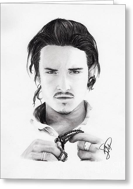 Orlando Bloom Greeting Card by Rosalinda Markle