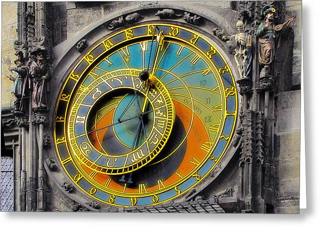Orloj - Astronomical Clock - Prague Greeting Card by Christine Till