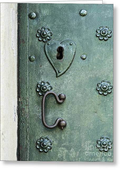 Greeting Card featuring the photograph Ornamental Metal Doors In Teal by Agnieszka Kubica