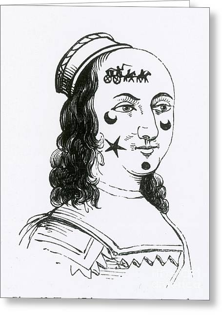 Ornamental Patches On Face, 17th Century Greeting Card by Photo Researchers