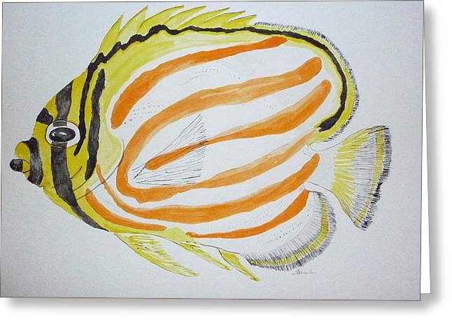Ornate Butterfly Fish Greeting Card by Tim Forrester