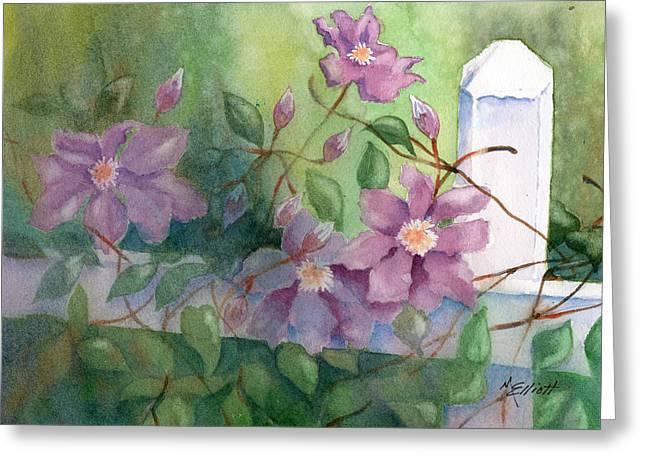 Orrville Clematis Greeting Card by Marsha Elliott