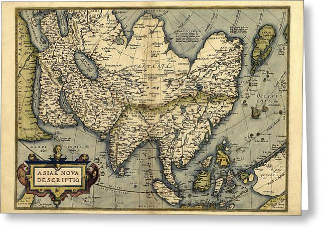 Ortelius's Map Of Asia, 1570 Greeting Card by Library Of Congress, Geography And Map Division