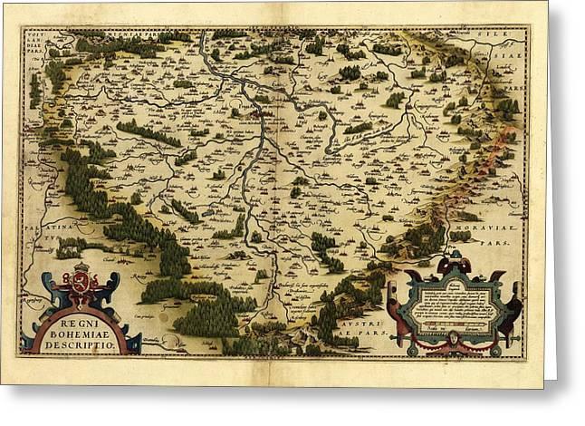 Ortelius's Map Of Bohemia, 1570 Greeting Card