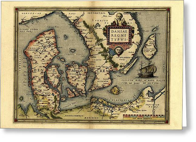 Ortelius's Map Of Denmark, 1570 Greeting Card by Library Of Congress, Geography And Map Division