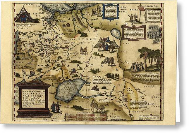 Ortelius's Map Of European Russia, 1570 Greeting Card by Library Of Congress, Geography And Map Division