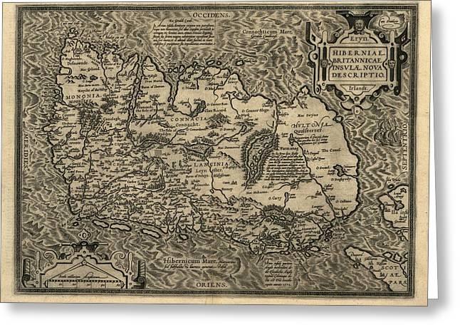 Ortelius's Map Of Ireland, 1598 Greeting Card