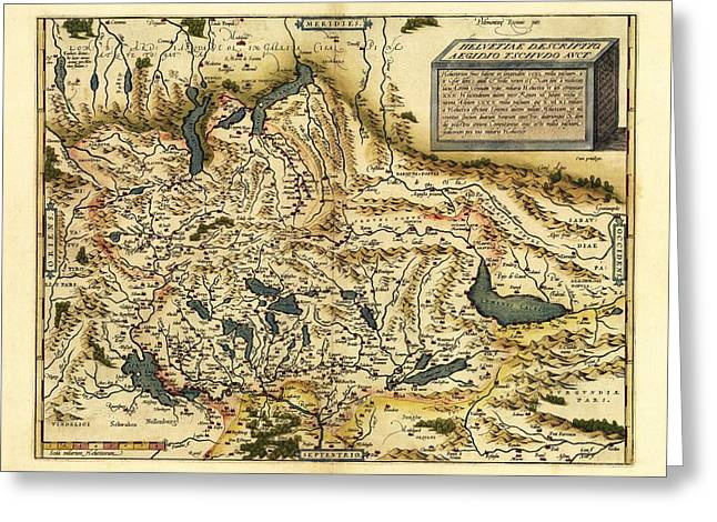 Ortelius's Map Of Switzerland, 1570 Greeting Card by Library Of Congress, Geography And Map Division