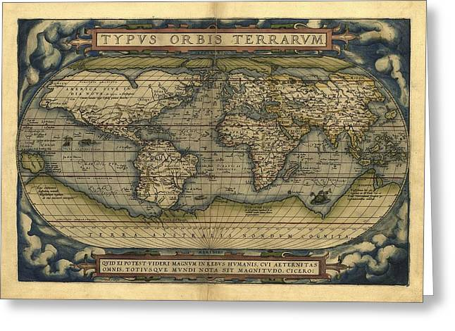Ortelius's World Map, 1570 Greeting Card by Library Of Congress, Geography And Map Division