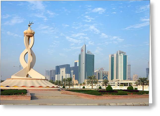 Oryx Roundabout In Qatar Greeting Card by Paul Cowan