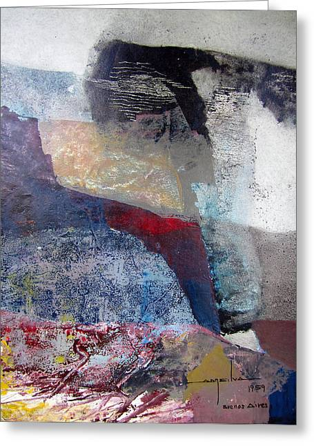Os1959ar018ba Abstract Landscape Of Potosi Bolivia 16.6 X 22 Greeting Card
