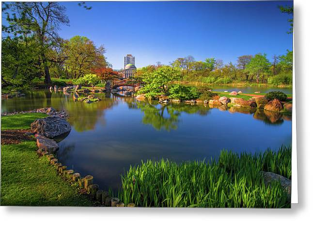 Osaka Garden Pond Greeting Card