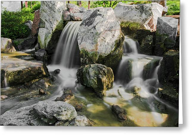 Osaka Garden Waterfall Greeting Card
