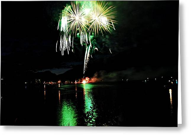 Osoyoos Lake Lights Up Greeting Card by Don Mann