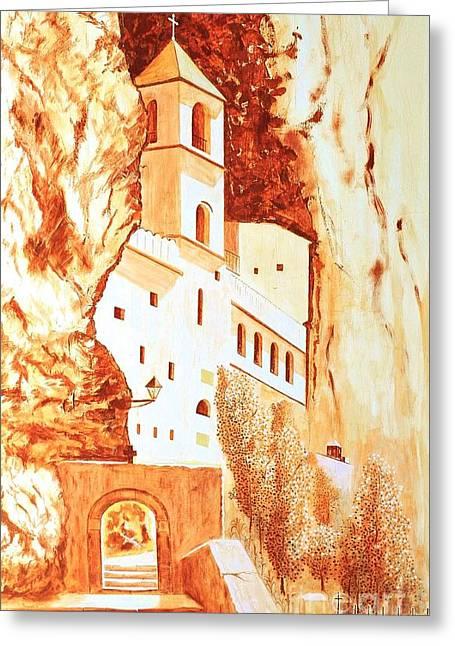 Ostrog Abbey. Montenegro. Greeting Card by Sasa Djerkovic