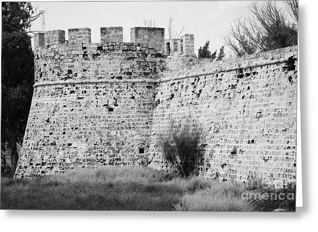 Othello Tower In Old City Walls Looking Out To The Harbour Famagusta Turkish Republic Cyprus Greeting Card by Joe Fox