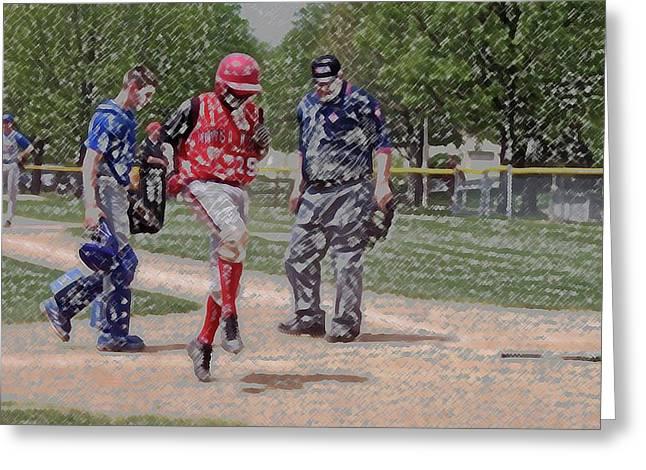 Ouch Baseball Foul Ball Digital Art Greeting Card by Thomas Woolworth