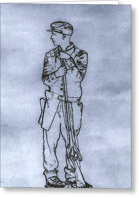 Our Boy In Blue Soldier Sketch Greeting Card by Randy Steele